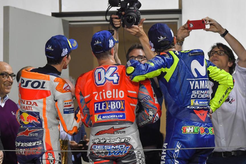 Andrea Dovizioso, Marc Marquez, Valentino Rossi, Grand Prix of Qatar
