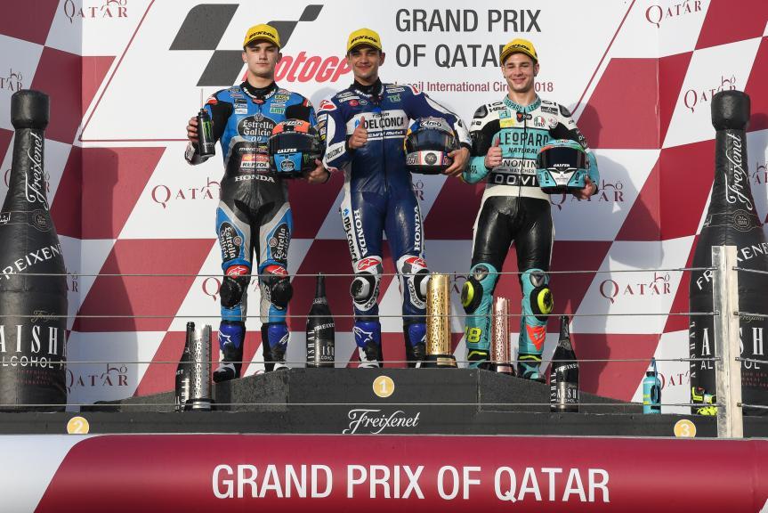 Jorge Martin, Aron Canet, Lorenzo Dalla Porta, Grand Prix of Qatar