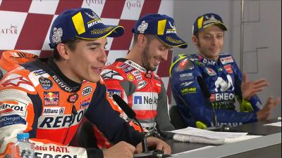 Don't miss Rossi's reaction to Marquez's run off!