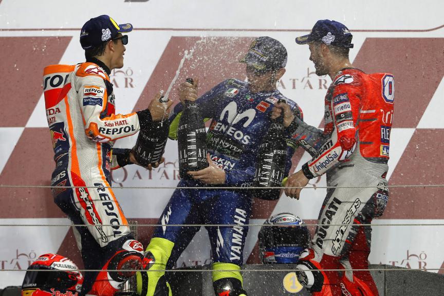 Andrea Dovizioso, Marc Marquez, Valentino Rossi, Movistar Yamaha MotoGP, Grand Prix of Qatar
