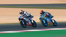 A look at the two-way duel for victory in the Moto3™ race at Doha went down to the wire