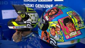 To honour Argentina, the Italian is wearing a themed helmet featuring Pope Franceso, Maradona and an Ace for his girlfriend, Belen Rodriguez