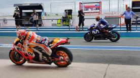 The Repsol Honda rider had another moment when he was leaving his box