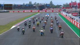 Watch the intermediate class do battle in the difficult track conditions at the ?Argentina GP