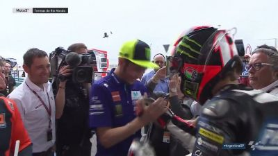 The boss @ValeYellow46 congratulates his @VRRidersAcademy man @Marco12_B