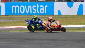 Watch the most talked about incident from the Argentina GP as Marquez and Rossi come together in the penultimate corner