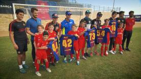 Watch Alex Rins, Pol Espargaro, Mattia Pasini, Joe Roberts and Alex Marquez visit the FC Barcelona academy in Austin