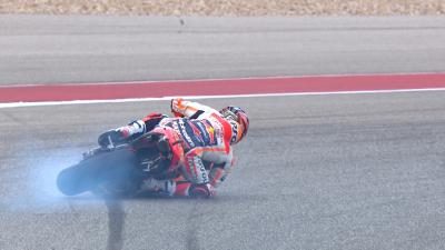 #SurfingUSA - Marquez hits the asphalt fighting for pole