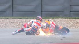 The Repsol Honda rider bottoms out on turn 13 with eight minutes of qualifying time to go!