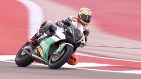 El norteamericano, que dará la vuelta con la Energica Ego Corsa el domingo, pudo probarla durante el primer día de Austin