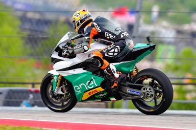 Colin Edwards tests out the Enel MotoE™ bike at COTA