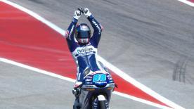 Completó una carrera tácticamente perfecta para llevarse la victoria por delante de Bastianini y de Bezzecchi; recupera el liderato