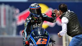 Despite a difficult weekend, the VR46 rider managed to beat Marquez and Oliveira at the Circuit of the Americas