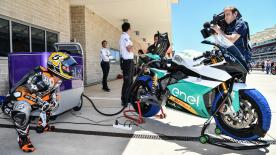 Texas Tornado, Colin Edwards puts the Energica MotoE™ machine through its paces at the Circuit of the Americas