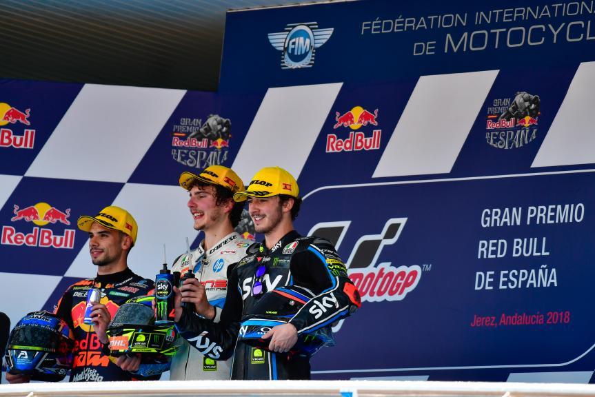 Lorenzo Baldassarri, Miguel Oliveira, Francesco Bagnaia, Pons HP40, Gran Premio Red Bull de España