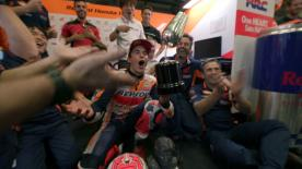 A celebration incident in the Repsol Honda box left the trophy in need of a trip to the pits
