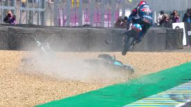 The Czech rider gets HUGE air and lands spectacuarly after hitting Bastianini's bike