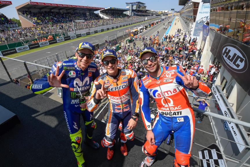 Marc Marquez, Danilo Petrucci, Valentino Rossi, HJC Helmets Grand Prix de France