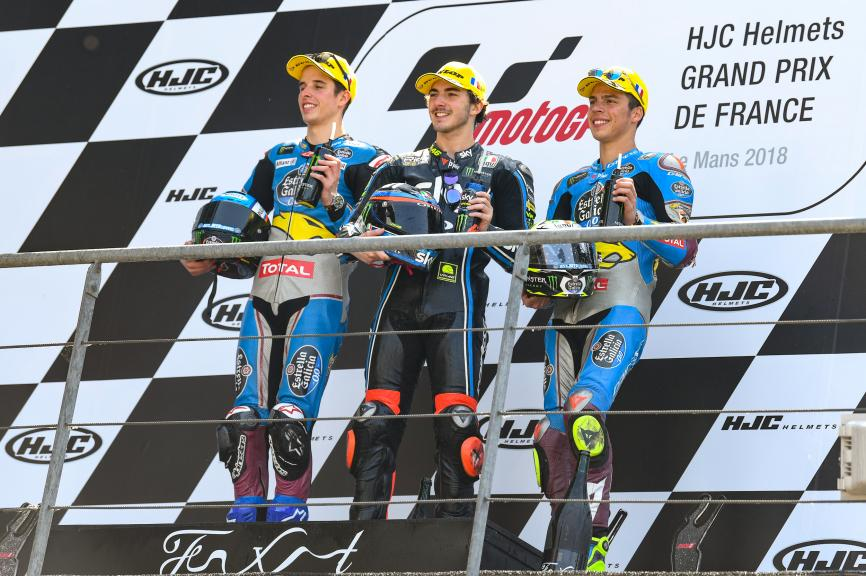 Francesco Bagnaia, Alex Marquez, Joan Mir, HJC Helmets Grand Prix de France