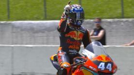 A last lap battle saw a first victory of the season for the future MotoGP™ KTM rider. Baldassrri second and Mir pips Pecco for 3rd