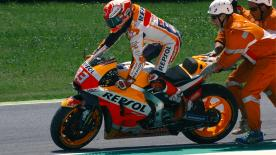Watch the Repsol Honda team and the number 93 react to the crash that threatened his championship lead