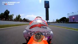 Relive Jorge Lorenzo's pole-winning lap at the Circuit de Barcelona-Catalunya