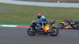 The Reale Avintia rider's machine burst into flames with 6 laps to go of the Catalan GP