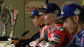 Los hombres del podio responden a las preguntas de los periodistas tras una emocionante carrera en Montmeló