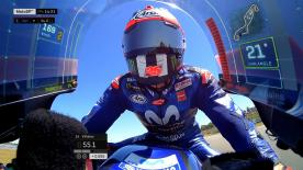 A MotoGP™ data visualisation update projects speed, throttle, lean angle and braking details onto the screen of the Yamaha bike