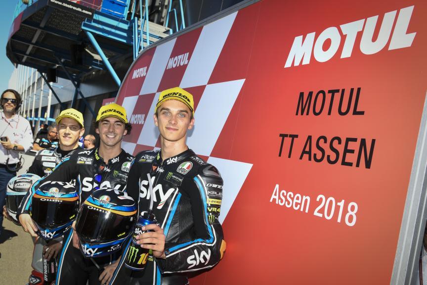 Francesco Bagnaia, Marcel Schrotter, Luca Marini, Motul TT Assen