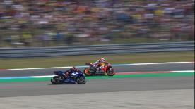 Battle rages on at Assen and the two made contact fighting for first position