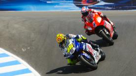 Valentino Rossi and his rival, Casey Stoner, look back on the famous battle at Laguna Seca, one decade ago