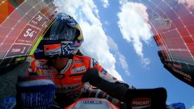 The MotoGP™ data visualisation update projects speed, throttle, lean angle and braking details onto the screen of the Ducati Desmosedici