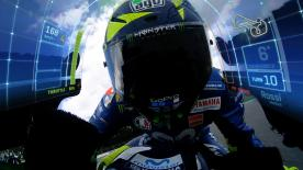 The MotoGP™ data visualisation update projects speed, throttle, lean angle and braking details onto the screen of the Doctor's Yamaha M1