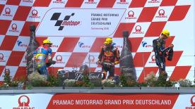The South African dominated the Sachsenring, over 7 tenths ahead of Joan Mir. Luca Marini completes the German GP Moto2™ podium