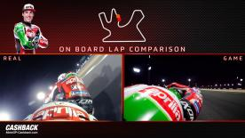 Watch a side-by-side comparison between Aleix Espargaro around the Losail International Circuit both in real life and on MotoGP™18