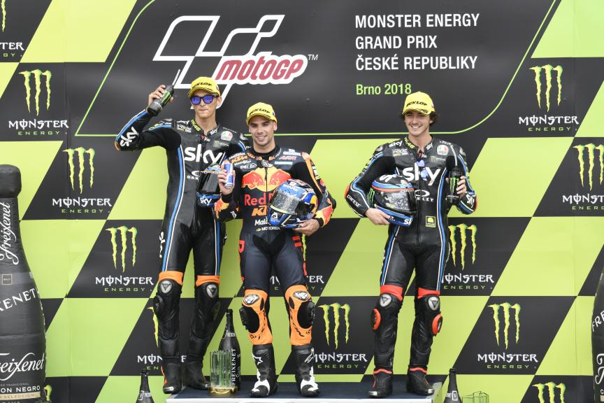 Miguel Oliveira, Luca Marini, Francesco Bagnaia, Monster Energy Grand Prix České republiky