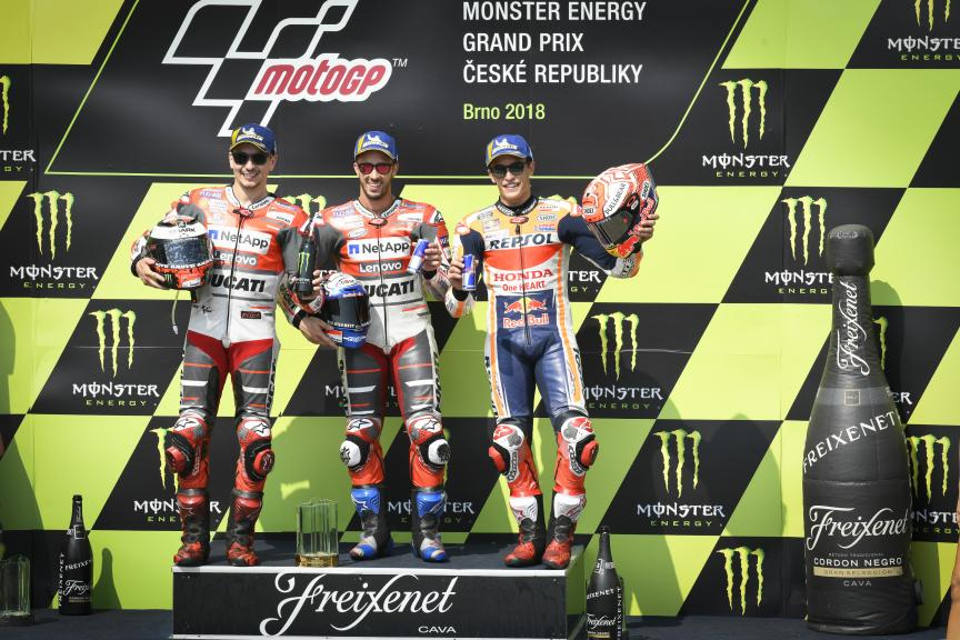 Andrea Dovizioso, Jorge Lorenzo, Marc Marquez, Monster Energy Grand Prix České republiky