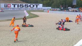 The three were involved in a crash during the first lap of the Czech GP. Hear from the riders about what happened