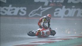 The Japanese rider went down in the rain at turn nine but stayed on his bike, riding the asphalt wave in Austria!