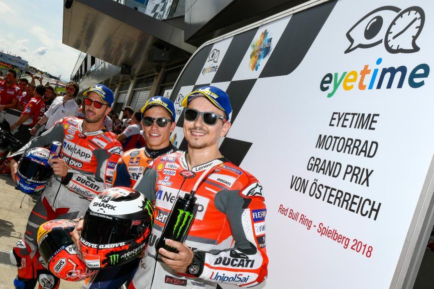 Marc Marquez, Andrea Dovizioso, Jorge Lorenzo, eyetime Motorrad Grand Prix von Österreich
