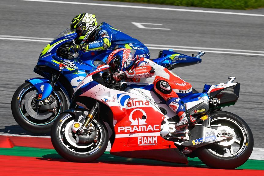Danilo Petrucci, Alma Pramac Racing, Andrea Iannone, Team Suzuki Ecstar, eyetime Motorrad Grand Prix von Österreich