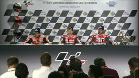 Les pilotes, arrivés aux trois premières places du GP d'Autriche, livrent leurs réactions en conférence de presse post-gp.