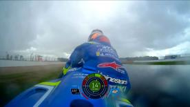 As Alex Rins' Suzuki GSX-RR slid out of the Hangar Straight, the Spaniard was able to hop off