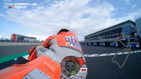 Relive Jorge Lorenzo's pole-winning lap at Silverstone, in the UK