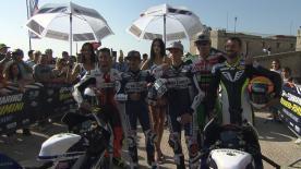 Redding, Martín et Di Giannantonio ont effectué un tour de moto à Saint-Marin, accompagnés des locaux Manuel Poggiali et Alex de Angelis.