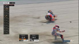 The reigning champion took a tumble at T15 (and almost saved it!) with just minutes left in Q2 at Misano!