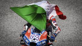 The Italian took a fantastic victory at his home GP, with Marquez in second and Crutchlow third. Lorenzo crashed out in his penultimate lap