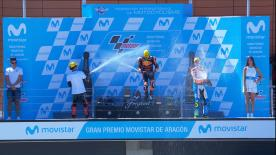 Brad Binder fährt in Aragon seinen zwiten Moto2™ Sieg ein, diesmal vor Bagnaia und Baldassarri