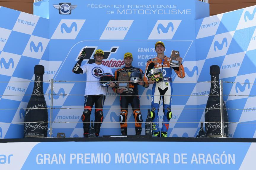 Brad Binder, Francesco Bagnaia, Lorenzo Baldassarri, Gran Premio Movistar de Aragón